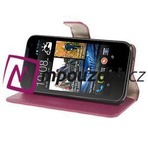 Peněženkové PU kožené pouzdro na HTC Desire 310- růžové - 4