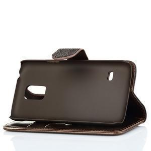 PU kožené flipové pouzdro na Samsung Galaxy S5 mini G-800- hnědé - 4