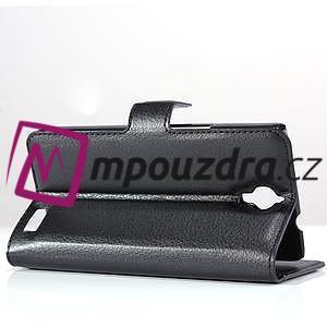 Peněženkové PU kožené pouzdro na Alcatel One Touch Idol OT-6030D- černé - 4