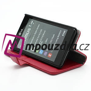 Peněženkové pouzdro na LG Optimus L7 P700 - červené - 4