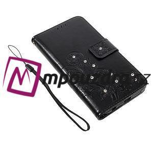 Floay PU kožené pouzdro s kamínky na mobil Honor 8 - černé - 4