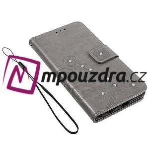Floay PU kožené pouzdro s kamínky na mobil Honor 8 - šedé - 4
