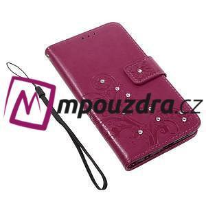 Floay PU kožené pouzdro s kamínky na mobil Honor 8 - rose - 4