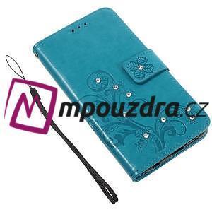 Floay PU kožené pouzdro s kamínky na mobil Honor 8 - modré - 4