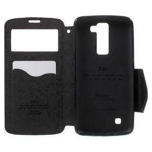 Diary PU kožené pouzdro s okýnkem na LG K8 - černé - 4