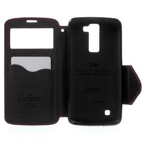 Diary PU kožené pouzdro s okýnkem na LG K8 - červené - 4