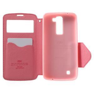 Diary PU kožené pouzdro s okýnkem na LG K8 - rose - 4