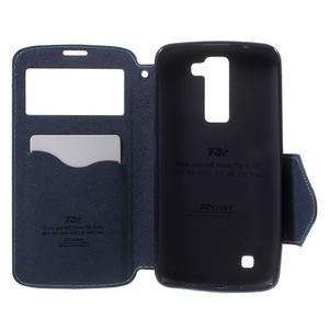 Diary PU kožené pouzdro s okýnkem na LG K8 - světlemodré - 4