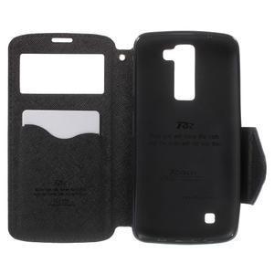 Diary PU kožené pouzdro s okýnkem na LG K8 - tmavěmodré - 4
