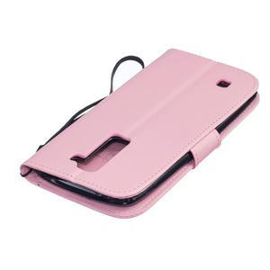 Dandelion PU kožené pouzdro na mobil LG K8 - růžové - 4
