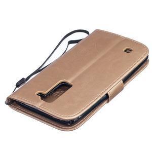Dandelion PU kožené pouzdro na mobil LG K8 - zlaté - 4