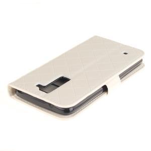 Luxusní PU kožené pouzdro s přezkou na LG K8 - bílé - 4