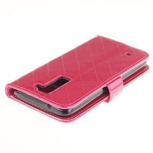 Luxusní PU kožené pouzdro s přezkou na LG K8 - rose - 4
