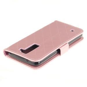 Luxusní PU kožené pouzdro s přezkou na LG K8 - růžové - 4