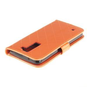 Luxusní PU kožené pouzdro s přezkou na LG K8 - oranžové - 4