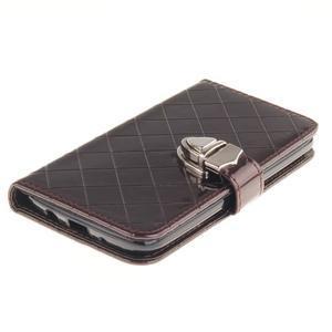 Luxusní PU kožené pouzdro s přezkou na LG K8 - hnědé - 4