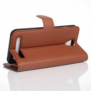 Wallet PU kožené klopové pouzdro na Acer Liquid Z6 - hnědé - 4