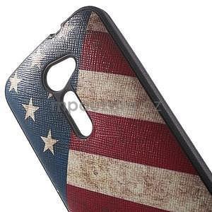 Gelový obal s imitací vroubkované kůže na Asus Zenfone 2 ZE500CL - vlajka USA - 4