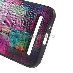 Gelový obal s imitací vroubkované kůže na Asus Zenfone 2 ZE500CL - mozaika barev - 4