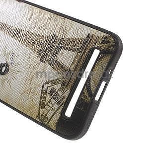 Gelový obal s imitací vroubkované kůže na Asus Zenfone 2 ZE500CL - Eiffelova věž - 4