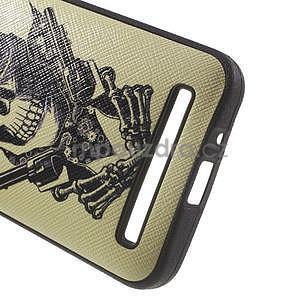 Gelový obal s imitací vroubkované kůže na Asus Zenfone 2 ZE500CL - pistolník - 4