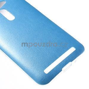 Gelový kryt s imitací kůže Asus Zenfone 2 ZE500CL - modrý - 4
