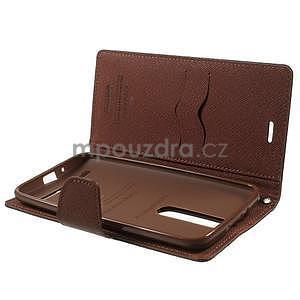 Zapínací PU kožené pouzdro na Asus Zenfone 2 ZE551ML - černé/hnědé - 4
