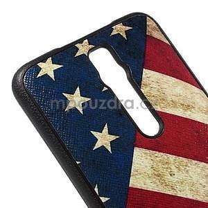 Gelový kryt s imitací vroubkované kůže pro Asus Zenfone 2 ZE551ML - vlajka USA - 4