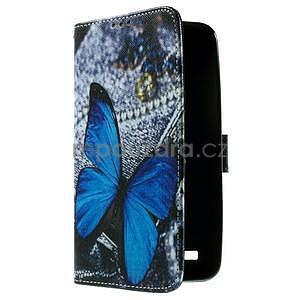 Zapínací peněženkové pouzdro na Asus Zenfone 2 ZE551ML - modrý motýl - 4