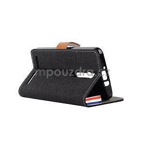 Černé peněženkové látkové/PU kožené pouzdro pro Asus Zenfone 2 ZE551ML - 4