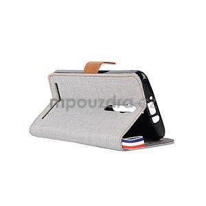Šedé peněženkové látkové/PU kožené pouzdro pro Asus Zenfone 2 ZE551ML - 4