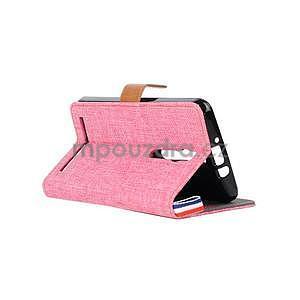 Růžové peněženkové látkové/PU kožené pouzdro pro Asus Zenfone 2 ZE551ML - 4