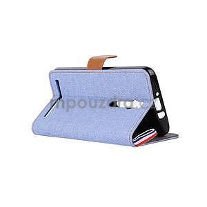 Světle modré peněženkové látkové/PU kožené pouzdro pro Asus Zenfone 2 ZE551ML - 4