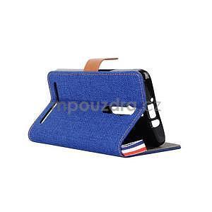 Modré peněženkové PU kožené pouzdro pro Asus Zenfone 2 ZE551ML - 4