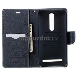 Zapínací PU kožené pouzdro na Asus Zenfone 2 ZE551ML - azurové - 4