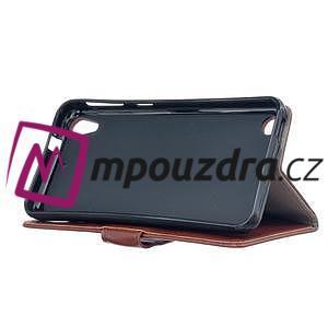 Peněženkové PU kožené pouzdro na HTC Desire 530 a Desire 630 - hnědé - 4