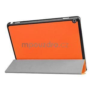 Trifold polohovatelné PU kožené pouzdro na Huawei MediaPad M3 Lite 10 - oranžové - 4