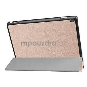 Trifold polohovatelné PU kožené pouzdro na Huawei MediaPad M3 Lite 10 - zlatorůžové - 4