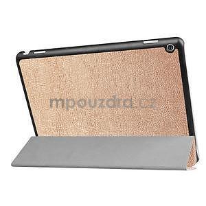 Trifold polohovatelné PU kožené pouzdro na Huawei MediaPad M3 Lite 10 - zlaté - 4
