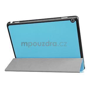 Trifold polohovatelné PU kožené pouzdro na Huawei MediaPad M3 Lite 10 - světlemodré - 4