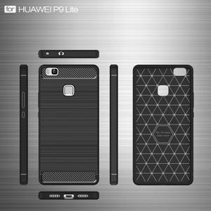 Carbo odolný gelový obal s broušenými zády na Huawei P9 Lite - tmavěmodrý - 4