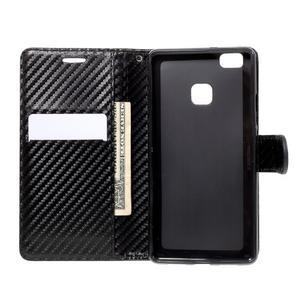 Carbon PU kožené pouzdro na Huawei P9 Lite - černé - 4