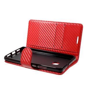 Carbon PU kožené pouzdro na Huawei P9 Lite - červené - 4
