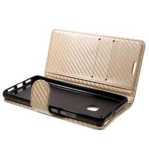 Carbon PU kožené pouzdro na Huawei P9 Lite - zlaté - 4