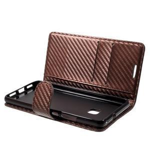 Carbon PU kožené pouzdro na Huawei P9 Lite - hnědé - 4