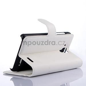 Elegantní PU kožené pouzdro na mobil Lenovo A536 - bílé - 4