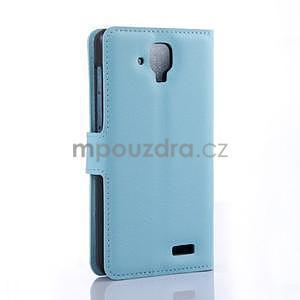 Elegantní PU kožené pouzdro na mobil Lenovo A536 - světlemodré - 4