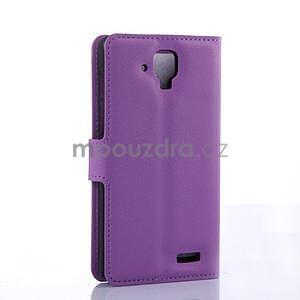 Elegantní PU kožené pouzdro na mobil Lenovo A536 - fialové - 4
