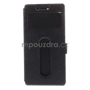 PU kožený obal s okýnky na Lenovo Vibe X2 - černý - 4