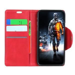 Wall PU kožené pouzdro na Motorola Moto G6 Play - červené - 4